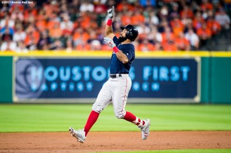 HOUSTON, TX - OCTOBER 6: Chris Young #30 of the Boston Red Sox reacts after hitting a double during the second inning of game two of the American League Division Series against the Houston Astros on October 6, 2017 at Minute Maid Park in Houston, Texas. (Photo by Billie Weiss/Boston Red Sox/Getty Images) *** Local Caption *** Chris Young