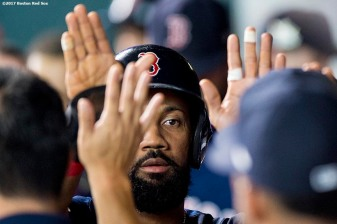 HOUSTON, TX - OCTOBER 6: Chris Young #30 of the Boston Red Sox high fives teammates after scoring during the second inning of game two of the American League Division Series against the Houston Astros on October 6, 2017 at Minute Maid Park in Houston, Texas. (Photo by Billie Weiss/Boston Red Sox/Getty Images) *** Local Caption *** Chris Young