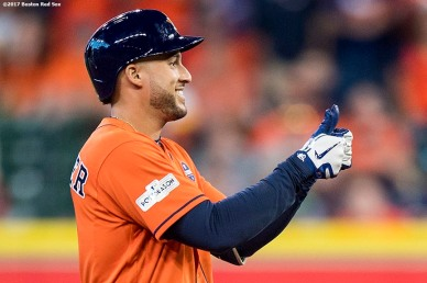 HOUSTON, TX - OCTOBER 6: George Springer #4 of the Houston Astros reacts after hitting a double during the fourth inning of game two of the American League Division Series against the Boston Red Sox on October 6, 2017 at Minute Maid Park in Houston, Texas. (Photo by Billie Weiss/Boston Red Sox/Getty Images) *** Local Caption *** George Springer