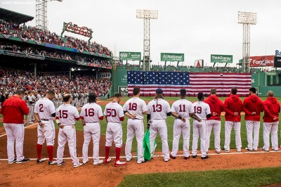 BOSTON, MA - OCTOBER 8: Members of the Boston Red Sox stand for the National Anthem before game three of the American League Division Series against the Houston Astros on October 8, 2017 at Fenway Park in Boston, Massachusetts. (Photo by Billie Weiss/Boston Red Sox/Getty Images) *** Local Caption ***