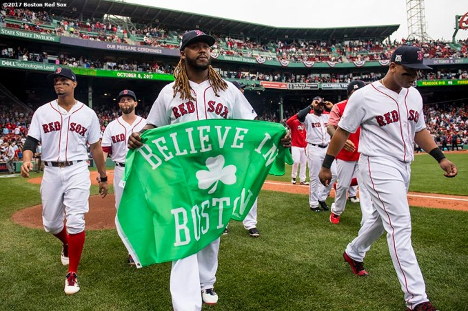BOSTON, MA - OCTOBER 8: Hanley Ramirez #13 of the Boston Red Sox carries a 'Believe In Boston' flag before game three of the American League Division Series against the Houston Astros on October 8, 2017 at Fenway Park in Boston, Massachusetts. (Photo by Billie Weiss/Boston Red Sox/Getty Images) *** Local Caption *** Hanley Ramirez