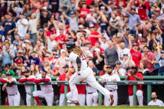 BOSTON, MA - OCTOBER 8: Hanley Ramirez #13 of the Boston Red Sox rounds the bases after hitting a double during the third inning of game three of the American League Division Series against the Houston Astros on October 8, 2017 at Fenway Park in Boston, Massachusetts. (Photo by Billie Weiss/Boston Red Sox/Getty Images) *** Local Caption *** Hanley Ramirez