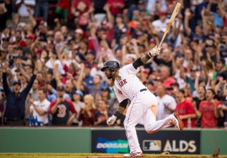 BOSTON, MA - OCTOBER 8: Hanley Ramirez #13 of the Boston Red Sox hits an RBI double during the seventh inning of game three of the American League Division Series against the Houston Astros on October 8, 2017 at Fenway Park in Boston, Massachusetts. (Photo by Billie Weiss/Boston Red Sox/Getty Images) *** Local Caption *** Hanley Ramirez
