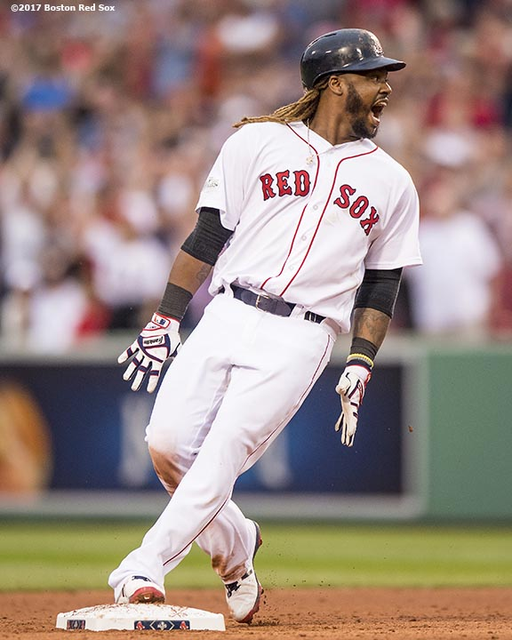 BOSTON, MA - OCTOBER 8: Hanley Ramirez #13 of the Boston Red Sox reacts after hitting an RBI double during the seventh inning of game three of the American League Division Series against the Houston Astros on October 8, 2017 at Fenway Park in Boston, Massachusetts. (Photo by Billie Weiss/Boston Red Sox/Getty Images) *** Local Caption *** Hanley Ramirez