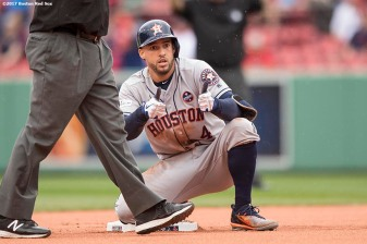 BOSTON, MA - OCTOBER 9: George Springer #4 of the Houston Astros reacts after hitting a double during the first inning of game four of the American League Division Series against the Boston Red Sox on October 9, 2017 at Fenway Park in Boston, Massachusetts. (Photo by Billie Weiss/Boston Red Sox/Getty Images) *** Local Caption *** George Springer
