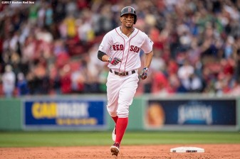 BOSTON, MA - OCTOBER 9: Xander Bogaerts #2 of the Boston Red Sox rounds the bases after hitting a solo home run during the first inning of game four of the American League Division Series against the Houston Astros on October 9, 2017 at Fenway Park in Boston, Massachusetts. (Photo by Billie Weiss/Boston Red Sox/Getty Images) *** Local Caption *** Xander Bogaerts