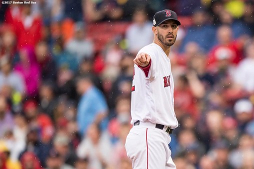 BOSTON, MA - OCTOBER 9: Rick Porcello #22 of the Boston Red Sox reacts during the second inning of game four of the American League Division Series against the Houston Astros on October 9, 2017 at Fenway Park in Boston, Massachusetts. (Photo by Billie Weiss/Boston Red Sox/Getty Images) *** Local Caption *** Rick Porcello