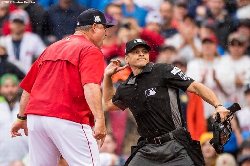 BOSTON, MA - OCTOBER 9: Manager John Farrell of the Boston Red Sox is ejected from the game after arguing with home plate umpire Mark Wegner during the second inning of game four of the American League Division Series against the Houston Astros on October 9, 2017 at Fenway Park in Boston, Massachusetts. (Photo by Billie Weiss/Boston Red Sox/Getty Images) *** Local Caption *** John Farrell; Mark Wegner