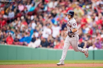 BOSTON, MA - OCTOBER 9: Alex Bregman #2 of the Houston Astros rounds the bases after hitting a game tying solo home run during the eighth inning of game four of the American League Division Series against the Boston Red Sox on October 9, 2017 at Fenway Park in Boston, Massachusetts. (Photo by Billie Weiss/Boston Red Sox/Getty Images) *** Local Caption *** Alex Bregman