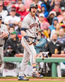BOSTON, MA - OCTOBER 9: Josh Reddick #22 of the Houston Astros reacts after hitting a go ahead RBI single during the eighth inning of game four of the American League Division Series against the Houston Astros on October 9, 2017 at Fenway Park in Boston, Massachusetts. (Photo by Billie Weiss/Boston Red Sox/Getty Images) *** Local Caption *** Josh Reddick