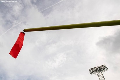 October 24, 2017, Boston, MA: The upright is shown as the goal post is installed before the 2017 Fenway Gridiron Series presented by Your Call Football at Fenway Park in Boston, Massachusetts Tuesday, October 24, 2017. (Photo by Billie Weiss/Boston Red Sox)