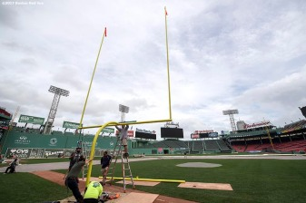 October 24, 2017, Boston, MA: The goal post is installed before the 2017 Fenway Gridiron Series presented by Your Call Football at Fenway Park in Boston, Massachusetts Tuesday, October 24, 2017. (Photo by Billie Weiss/Boston Red Sox)