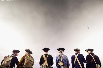 FOXBORO, MASSACHUSETTS - OCTOBER 22: Members of the End Zone Militia look on as fog falls on the field during a game between the New England Patriots and the Atlanta Falcons at Gillette Stadium on October 22, 2017 in Foxboro, Massachusetts. (Photo by Billie Weiss/Getty Images)