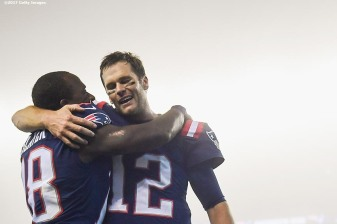 FOXBORO, MASSACHUSETTS - OCTOBER 22: Tom Brady #12 of the New England Patriots reacts with Matthew Slater #18 after a game against the Atlanta Falcons at Gillette Stadium on October 22, 2017 in Foxboro, Massachusetts. (Photo by Billie Weiss/Getty Images) *** Local Caption *** Tom Brady;Matthew Slater