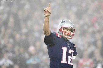 FOXBORO, MA - OCTOBER 22: Tom Brady #12 of the New England Patriots reacts during the third quarter of a game against the Atlanta Falcons at Gillette Stadium on October 22, 2017 in Foxboro, Massachusetts. (Photo by Billie Weiss/Getty Images) *** Local Caption *** Tom Brady