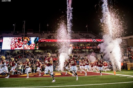 October 27, 2017, Chestnut Hill, MA: Corporate signage during a football game between Boston College and Florida State University at Alumni Stadium in Chestnut Hill, Massachusetts Friday, October 27, 2017. (Photo by Billie Weiss/Fenway Sports Management)