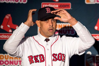 BOSTON, MA - NOVEMBER 6: Alex Cora is presented with a jersey and hat during a press conference introducing him as the next manager of the Boston Red Sox on November 6, 2017 at Fenway Park in Boston, Massachusetts. (Photo by Billie Weiss/Boston Red Sox/Getty Images) *** Local Caption *** Alex Cora
