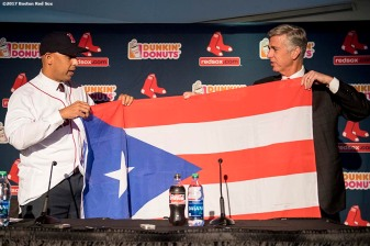 BOSTON, MA - NOVEMBER 6: Alex Cora presents Boston Red Sox President of Baseball Operations Dave Dombrowski with a Puerto Rico flag during a press conference introducing Cora as the next manager of the Boston Red Sox on November 6, 2017 at Fenway Park in Boston, Massachusetts. (Photo by Billie Weiss/Boston Red Sox/Getty Images) *** Local Caption *** Alex Cora; Dave Dombrowski