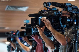BOSTON, MA - NOVEMBER 6: Members of the television media film during a press conference introducing Alex Cora as the next manager of the Boston Red Sox on November 6, 2017 at Fenway Park in Boston, Massachusetts. (Photo by Billie Weiss/Boston Red Sox/Getty Images) *** Local Caption *** Alex Cora