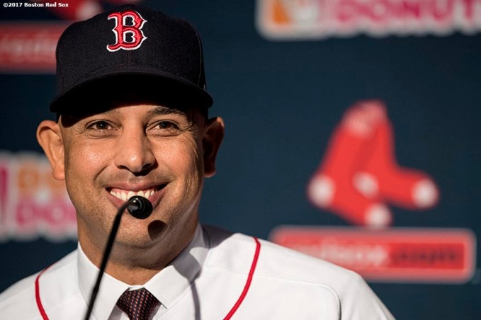 BOSTON, MA - NOVEMBER 6: Alex Cora speaks during a press conference introducing him as the next manager of the Boston Red Sox on November 6, 2017 at Fenway Park in Boston, Massachusetts. (Photo by Billie Weiss/Boston Red Sox/Getty Images) *** Local Caption *** Alex Cora