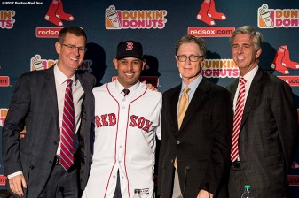 BOSTON, MA - NOVEMBER 6: Alex Cora shakes hands with Boston Red Sox President & CEO Sam Kennedy, Boston Red Sox Principal Owner John Henry, and Boston Red Sox President of Baseball Operations Dave Dombrowski during a press conference introducing Cora as the next manager of the Boston Red Sox on November 6, 2017 at Fenway Park in Boston, Massachusetts. (Photo by Billie Weiss/Boston Red Sox/Getty Images) *** Local Caption *** Alex Cora; John Henry; Dave Dombrowski; Sam Kennedy