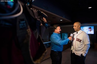 BOSTON, MA - NOVEMBER 6: Alex Cora speaks with the media after a press conference introducing him as the next manager of the Boston Red Sox on November 6, 2017 at Fenway Park in Boston, Massachusetts. (Photo by Billie Weiss/Boston Red Sox/Getty Images) *** Local Caption *** Alex Cora