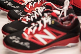 November 9, 2017, Boston, MA: Boston Red Sox infielder Brock Holt signs autographs in a custom cleat design meeting during a visit to the New Balance Headquarters in Boston, Massachusetts Wednesday, November 9, 2017. (Photo by Billie Weiss/Boston Red Sox)