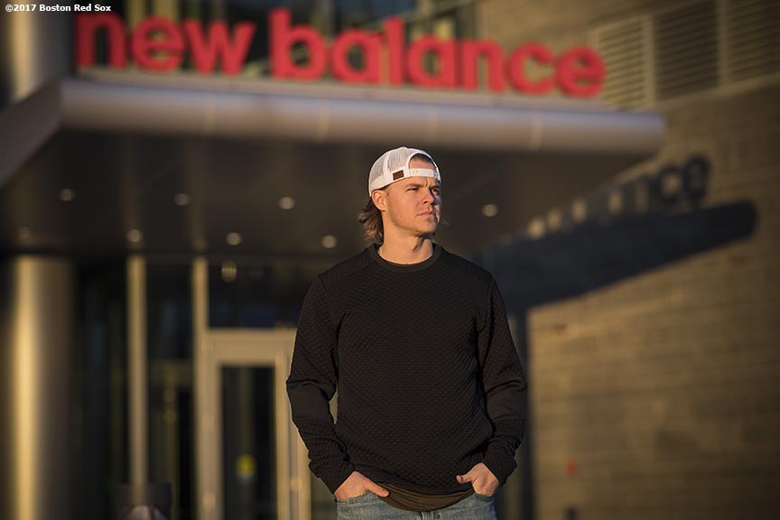 November 9, 2017, Boston, MA: Boston Red Sox infielder Brock Holt poses for a portrait during a visit to the New Balance Headquarters in Boston, Massachusetts Wednesday, November 9, 2017. (Photo by Billie Weiss/Boston Red Sox)