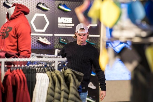 November 9, 2017, Boston, MA: Boston Red Sox infielder Brock Holt shops for clothes during a visit to the New Balance Headquarters in Boston, Massachusetts Wednesday, November 9, 2017. (Photo by Billie Weiss/Boston Red Sox)
