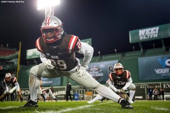 November 10, 2017, Boston, MA: A member of Brown University warms up before a game against Dartmouth College during the Fenway Gridiron Series presented by Your Call Football at Fenway Park in Boston, Massachusetts Friday, November 10, 2017. (Photo by Billie Weiss/Boston Red Sox)