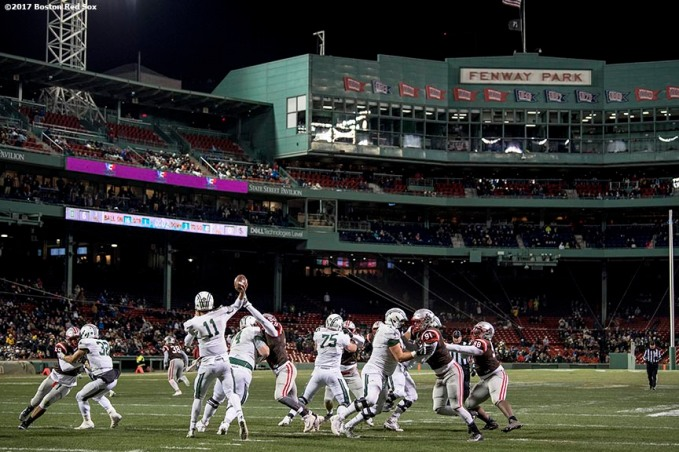 November 10, 2017, Boston, MA: Game action during a game between Brown University and Dartmouth College during the Fenway Gridiron Series presented by Your Call Football at Fenway Park in Boston, Massachusetts Friday, November 10, 2017. (Photo by Billie Weiss/Boston Red Sox)