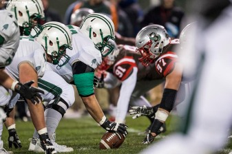 November 10, 2017, Boston, MA: during a game between Brown University and Dartmouth College during the Fenway Gridiron Series presented by Your Call Football at Fenway Park in Boston, Massachusetts Friday, November 10, 2017. (Photo by Billie Weiss/Boston Red Sox)