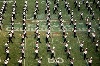 November 11, 2017, Boston, MA: The University of Massachusetts Marching Band performs before a game against the University of Maine during the Fenway Gridiron Series presented by Your Call Football at Fenway Park in Boston, Massachusetts Saturday, November 11, 2017. (Photo by Billie Weiss/Boston Red Sox)