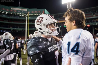 November 11, 2017, Boston, MA: Players shake hands after a game between University of Massachusetts and University of Maine during the Fenway Gridiron Series presented by Your Call Football at Fenway Park in Boston, Massachusetts Saturday, November 11, 2017. (Photo by Billie Weiss/Boston Red Sox)