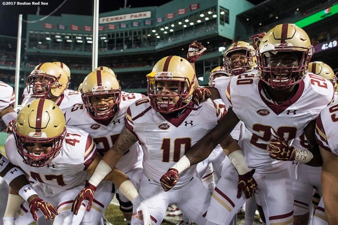 November 18, 2017, Boston, MA: Members of Boston College react before a game against the University of Connecticut during the Fenway Gridiron Series presented by Your Call Football at Fenway Park in Boston, Massachusetts Saturday, November 18, 2017. (Photo by Billie Weiss/Boston Red Sox)