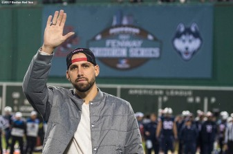 November 18, 2017, Boston, MA: Boston Red Sox pitcher Matt Barnes is introduced before a game between University of Connecticut and Boston College during the Fenway Gridiron Series presented by Your Call Football at Fenway Park in Boston, Massachusetts Saturday, November 18, 2017. (Photo by Billie Weiss/Boston Red Sox)