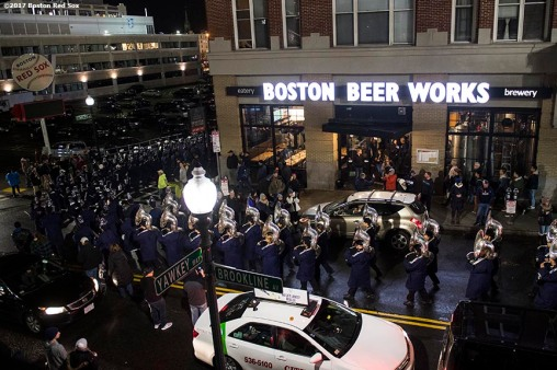 November 18, 2017, Boston, MA: The University of Connecticut band performs on Brookline Avenue outside Fenway Park after a game against Boston College during the Fenway Gridiron Series presented by Your Call Football at Fenway Park in Boston, Massachusetts Saturday, November 18, 2017. (Photo by Billie Weiss/Boston Red Sox)