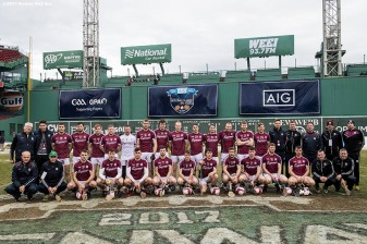 November 19, 2017, Boston, MA: Members of Galway pose for a team photograph during the AIG Fenway Hurling Classic and Irish Festival at Fenway Park in Boston, Massachusetts Sunday, November 19, 2017. (Photo by Billie Weiss/Boston Red Sox)