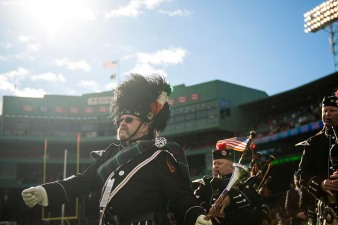 November 19, 2017, Boston, MA: Bagpipers perform during a parade before a game between Dublin and Galway during the AIG Fenway Hurling Classic and Irish Festival at Fenway Park in Boston, Massachusetts Sunday, November 19, 2017. (Photo by Billie Weiss/Boston Red Sox)