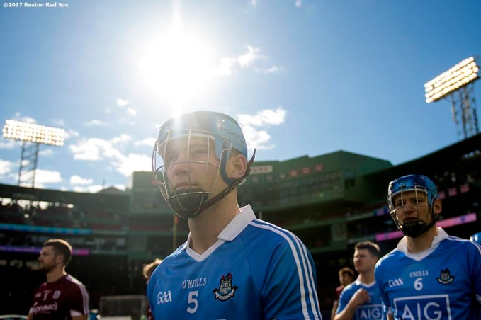 November 19, 2017, Boston, MA: A member of Dublin participates in a parade before a game against Galway during the AIG Fenway Hurling Classic and Irish Festival at Fenway Park in Boston, Massachusetts Sunday, November 19, 2017. (Photo by Billie Weiss/Boston Red Sox)