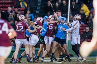 November 19, 2017, Boston, MA: A fight occurs during a game between Dublin and Galway during the AIG Fenway Hurling Classic and Irish Festival at Fenway Park in Boston, Massachusetts Sunday, November 19, 2017. (Photo by Billie Weiss/Boston Red Sox)