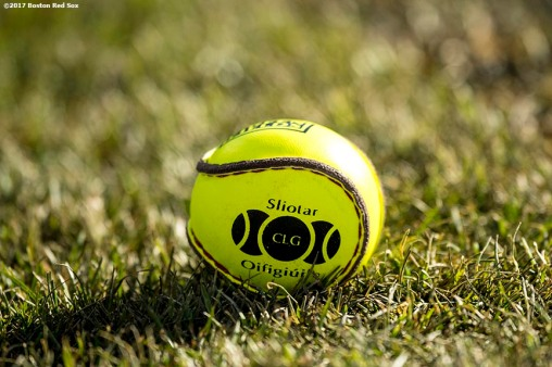 November 19, 2017, Boston, MA: A sliotar ball is shown during the AIG Fenway Hurling Classic and Irish Festival at Fenway Park in Boston, Massachusetts Sunday, November 19, 2017. (Photo by Billie Weiss/Boston Red Sox)