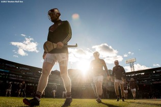 November 19, 2017, Boston, MA: Members of Galway warm up before the final match against Clare during the AIG Fenway Hurling Classic and Irish Festival at Fenway Park in Boston, Massachusetts Sunday, November 19, 2017. (Photo by Billie Weiss/Boston Red Sox)