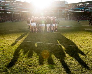 November 19, 2017, Boston, MA: Members of Galway huddle before the final match against Clare during the AIG Fenway Hurling Classic and Irish Festival at Fenway Park in Boston, Massachusetts Sunday, November 19, 2017. (Photo by Billie Weiss/Boston Red Sox)