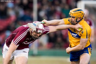 November 19, 2017, Boston, MA: Game action during the final match between Galway and Clare during the AIG Fenway Hurling Classic and Irish Festival at Fenway Park in Boston, Massachusetts Sunday, November 19, 2017. (Photo by Billie Weiss/Boston Red Sox)