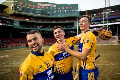November 19, 2017, Boston, MA: Members of Clare react after defeating Galway in the final match during the AIG Fenway Hurling Classic and Irish Festival at Fenway Park in Boston, Massachusetts Sunday, November 19, 2017. (Photo by Billie Weiss/Boston Red Sox)
