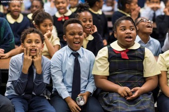 December 13, 2017, Roxbury, MA: Students react during a Boston Red Sox visit to the St. Patrick's School during The Gift Of Sox in Roxbury, Massachusetts Wednesday, December 13, 2017. (Photo by Billie Weiss/Boston Red Sox)