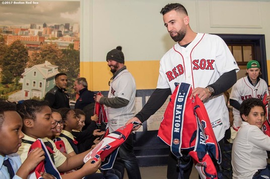 December 13, 2017, Roxbury, MA: Boston Red Sox infielder Deven Marrero gives away backpacks to students during a visit to the St. Patrick's School during The Gift Of Sox in Roxbury, Massachusetts Wednesday, December 13, 2017. (Photo by Billie Weiss/Boston Red Sox)