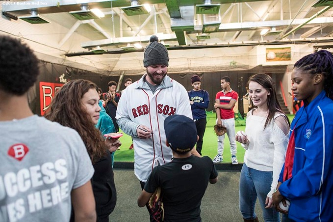 December 15, 2017, Roxbury, MA: Boston Red Sox pitcher Austin Maddox signs autographs during a visit to The BASE as part of the 2017 Red Sox Holiday Caravan in Roxbury, Massachusetts Friday, December 15, 2017. (Photo by Billie Weiss/Boston Red Sox)