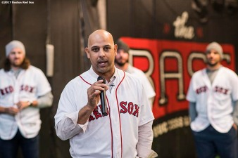December 15, 2017, Roxbury, MA: Boston Red Sox manager Alex Cora speaks during a visit to The BASE as part of the 2017 Red Sox Holiday Caravan in Roxbury, Massachusetts Friday, December 15, 2017. (Photo by Billie Weiss/Boston Red Sox)